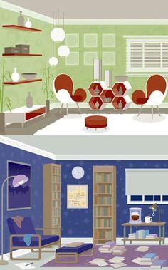 Room Design Series Vector Illustration