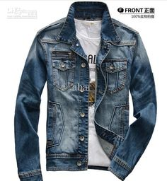 2014 Guchao spring and autumn popular men's clothing men's business casual jacket male denim coat denim clothing design short Denim Coat, Denim Shirt, Popular Mens Clothing, Business Casual Jacket, Pathani Kurta, Boys Suits, Latest Outfits, Denim Outfit, Denim Fashion
