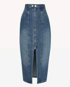 JXJC Denim Zip Front Midi Skirt - - - Architectural seaming brings stylish rigor to this otherwise casual cotton-denim midi skirt that also features front slash pockets and a deep front sl. Denim Skirt, Midi Skirt, Denim Fashion, Jeans Style, Women's Fashion Dresses, Juicy Couture, Cool Outfits, Stylish, My Style