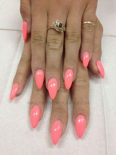 Details of hot pink almond nails shape 49 Get Nails, Fancy Nails, Trendy Nails, Nail Swag, Uñas Color Coral, Uñas Diy, Shellac Nail Colors, Nail Colour, Uñas Fashion