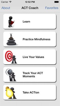 Apps for Veterans for Mental Health help. ACT Coach was designed for Veterans, Servicemembers and others who are in Acceptance and Commitment Therapy (ACT) with a mental health professional and want to use an ACT App in conjunction with their therapy. . #mentalhealth #militaryandveterans #healthcare depression, anxiety, PTSD, or other trauma related difficulties. Act Coach Top Level Menu Items . https://mobile.va.gov/appstore/veterans?keys=&field_app_category_tid%5B3%5D=3 #VAcare