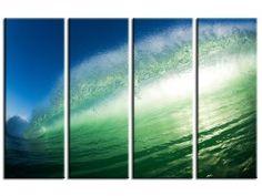 Tableau quadriptyque, vague et lumière. Photographie Aquashot