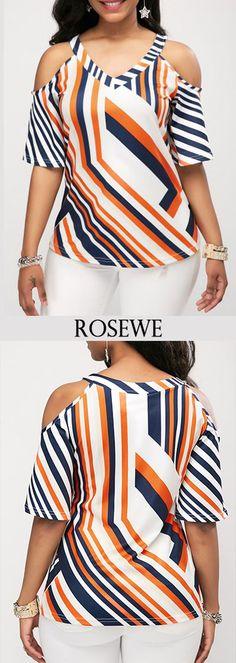 Printed V Neck Cold Shoulder Blouse.#Rosewe#blouse ldshoulder#blouse