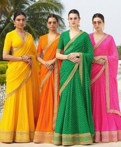 Vivid shimmer sarees, Bohemian lehengas, solid colour sharara and royal as ever sherwanis: This is what the Sabyasachi bride and groom will be wearing in the summer of India's top bridal wear. Sabyasachi Collection, Saree Collection, Bridal Collection, Summer Collection, Indian Attire, Indian Wear, Indian Dresses, Indian Outfits, Pakistani Dresses