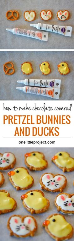 Easter Pretzel Bunnies and Ducks Easter treats – easy holiday snacks – crafts for kids – chocolate pretzels Easter Snacks, Easter Treats, Easter Recipes, Easter Food, Easter Desserts, Easter Decor, Easter Stuff, Fun Desserts, Easter Centerpiece