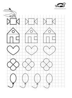 printables for kids Preschool Writing, Free Preschool, Preschool Worksheets, Preschool Learning, Preschool Activities, Graph Paper Drawings, Graph Paper Art, Art Drawings For Kids, Letter Tracing Worksheets