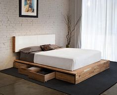 diy+platform+beds | Platform bed with storage on one side