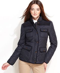 Tommy Hilfiger Jacket, Quilted Barn Corduroy - Coats - Women - Macy's