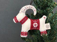 Horse Christmas Ornament, Christmas Ornaments To Make, Christmas Stockings, Christmas Tree, Handmade Ornaments, Felt Ornaments, Handmade Gifts, Yule Goat, Pagan Yule