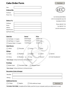 Costco Cake Order Form Pdf  Cake Order Forms    Costco