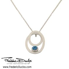 Frederic Duclos Sterling Silver Double Matte Oval Blue Drusy Necklace