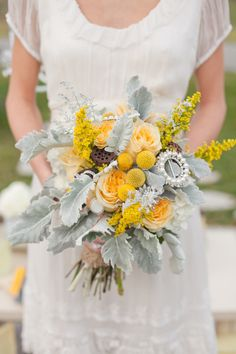 Rustic/Shabby Chic Wedding Bouquet Arranged With: Creamy Yellow Garden Roses, Yellow Craspedia, Yellow Solidago (Goldenrod), Dried Lotus Pods, Broad Leaf Dusty Miller + Bouquet Brooch~~ Yellow Wedding Flowers, Floral Wedding, Chic Wedding, Yellow Flowers, Summer Wedding, Yellow Weddings, Pretty Flowers, Wedding Details, Wedding Reception