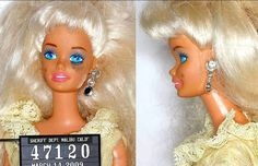 Barbie's mug shots. Someone is in trouble... It must be for prostitution she always looked cheap with that dime store bottled dyed hair and that bronzer and cheap eye make up. Maybe Lewd and Lascivious behavior. It's long awaited is all I know.