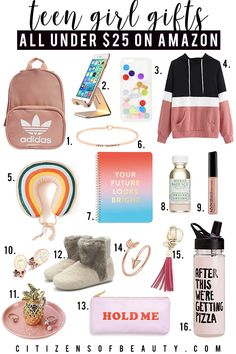 Top Teen girl gifts under $25 like Adidas backpack, cell phone stand, hoodies, inpirational jewelry and more with style blogger, Kendra Stanton.