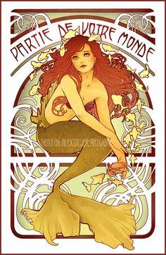 Tirage d'Art Nouveau de la sirène par NeverBirdDesigns sur Etsy