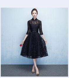 fda736768f0dd 高品質 復古調 レース パーティードレス ミディアムドレス ワンピース ミドル丈 7分袖 黒