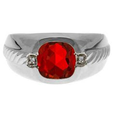 Men's Ruby and Diamond Accent Ring In White Gold Available Exclusively at Gemologica.com