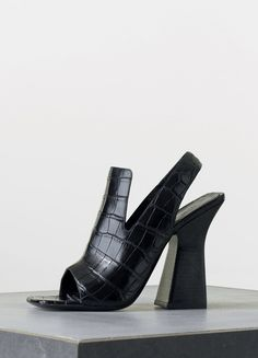 Graphic Sandal in Black Stamped Crocodile Calfskin