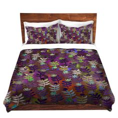 Ebi Emporium Fine Art Designer Duvet Cover and Shams, Artist Julia Di Sano on Dianoche Designs, Lovely Bedroom Decor Modern Bedding Home Decoration Floral Eggplant Lavender Plum Violet Aubergine Purple Flowers Leaves Garden Pattern #floral #flowers #floralpattern #purple #duvet #duvetcover #bedroom #bedding #elegant #colorful #whimsical