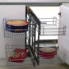 Μηχανισμός κουζίνας Magic corner με φρένο Giann με συρμάτινα καλάθια ολικής εξαγωγής