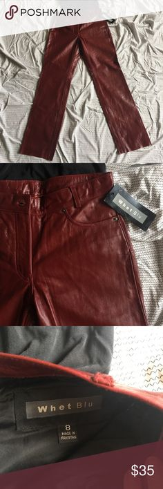 "Buffy Maroon Leather Pants BTVS Halloween VTG NWT This is it ladies! You're going to look JUST like Buffy the Vampire Slayer herself for Halloween. These are 100% real leather. Vintage and New w/ tags WHET BLU sz8. Waist=30.5"" Length=41"" (unfinished hem if you want to tailor them) Zipper=8"" whet blu Pants"