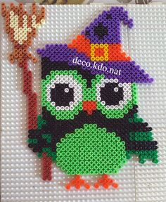 Witch owl Halloween  hama perler beads by Deco.Kdo.Nat
