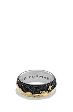 David Yurman 'Waves' Band Ring with 18K Gold and Black Diamonds available at #Nordstrom