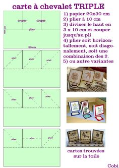 carte-a-chevalet-triple-TUTO.jpg 827 × 1 169 pixels carte-a-chevalet-triple-TUTO. Fun Fold Cards, Folded Cards, Scrapbook Albums, Scrapbook Cards, Card Making Templates, Interactive Cards, Making Greeting Cards, Shaped Cards, Easel Cards
