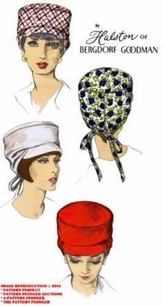 60s Stunning Designer Halston Bergdorf Goodman Visor Hat Fabric Sew Pattern 6929 | eBay