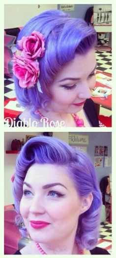 Purple lavender pastel vintage rockabilly dyed hair