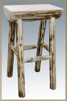Montana Collection Counter Height Half Log Barstool, Ready to Finish Log Bar Stools, Rustic Bar Stools, Log Chairs, Rustic Log Furniture, Lodge Furniture, Sticks Furniture, Diy Pallet Projects, Wood Projects, Montana