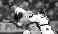 "Nolan Ryan (Texas Rangers), Robin Ventura (Chicago White Sox), and Ivan ""Pudge"" Rodriguez (Texas Rangers). One of my all time favorite memories!"