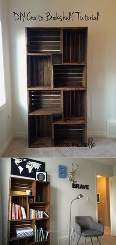 DIY Crate Bookshelf Tutorial - 16 Best DIY Furniture Projects Revealed – Update Your Home on a Budget! DIY Crate Bookshelf Tutorial - 16 Best DIY Furniture Projects Revealed – Update Your Home on a Budget! Diy Home Decor For Apartments, Apartment Decorating On A Budget, Diy Home Decor On A Budget Living Room, Diy Living Room Furniture, House Ideas On A Budget, Diy Furniture On A Budget, Crate Furniture, Budget Living Rooms, Apartment Ideas College