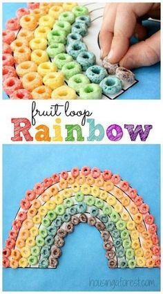 WEATHER - BOOK - WHAT MAKES A RAINBOW Fruit Loop Rainbow craft ~ Simple Preschool activity If you are looking for St. Patrick's Day activities, look no further. These rainbow activities are sure are all fun and engaging ways to celebrate! Kids Crafts, Preschool Projects, Daycare Crafts, Toddler Crafts, Preschool Crafts, Creative Crafts, Easy Crafts, Art Projects, Rainbow Activities
