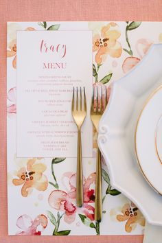 Floral wedding menu and gold flatware: http://www.stylemepretty.com/california-weddings/sonoma/2016/10/29/colorful-tented-wedding-in-sonoma-california/ Photography: Melanie Duerkopp - http://melanieduerkopp.com/