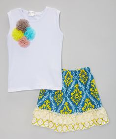 Look at this AdoraBelle Pettiskirts Yellow & Blue Rosette Floral Tank & Shorts - Toddler & Girls on #zulily today!