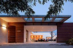 Horizontal wood on door/surround; horizontal hardware
