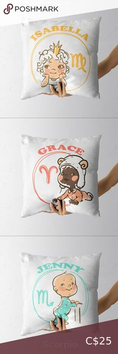 """Personalized Cute Baby Zodiac Signs Cushion Size: 15"""" x 15"""" Personalized name or message available as option. Choose Your Skin Tone Color: Light or Dark Choose from 4 colors for the drawing: Blue, Green, Red or Yellow Our handmade cotton cushion covers are printed on both sides, with the name or message of your choice on both sides. These are perfect gifts for your loves ones for baby showers, birthdays or holidays! The pillows can be customized by colours, ensure to include the details when… Cat Cushion, Cushion Covers, Tooth Fairy Money, Milk Snob Cover, Hello Kitty Keychain, Horoscope Signs, Zodiac Signs, Bead Studio, Kids C"""