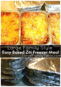 Baked Ziti Freezer Meals Recipe - Large Family Dinners Everyone in my family loves! Easy Freezer Meals, Make Ahead Meals, Freezer Cooking, Batch Cooking, Bulk Cooking, Freezer Recipes, Cooking Food, Easy Dinners, Baking Recipes