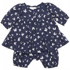 Talc baby ensemble (navy butterflies)