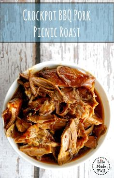 Crockpot BBQ Pork Picnic Roast - Life Made Full - Click the image to find different pork crock-pot recipes Onion Recipes, Pork Recipes, Slow Cooker Recipes, Crockpot Recipes, Cake Recipes, Pork Picnic, Picnic Roast, Picnic Foods, Best Paleo Recipes