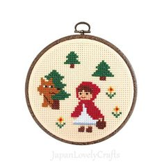 Japanese Cross Stitch Kit Tutorial, Fairy Tale, Little Red Riding-Hood, Beginner Embroider, Hand Embroidery Kit, Embroidery Wall Art, JapanLovelyCrafts
