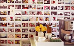 Wallpaper with polaroid photographs.