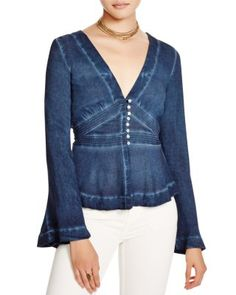 Free People Bell Sleeve Boho Blouse | Bloomingdale's
