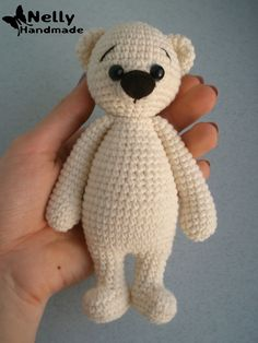 Teddy Bear of a milky-white color. My nephew inspired me to create this cute boy. His belly is soft and lovely.