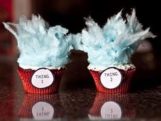 Thing 1 and Thing 2 blue cotton candy cupcakes for Dr. Seuss theme