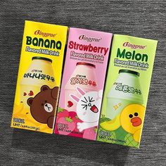 Korean Drinks, Korean Food, Japanese Snacks, Japanese Food, Honey Pancakes, Tteokbokki, Asian Snacks, Banana Milk, Line Friends