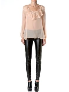 Ruffle Blouse & leather pants