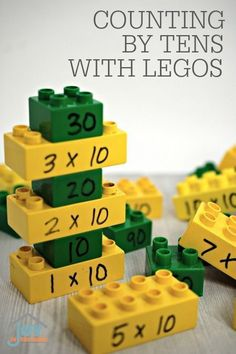 Counting by Tens with Legos - Teach your child how to count by 10s, multiply by 10s and all through play with this hands-on learning activity for math. | www.joyinthehome.com
