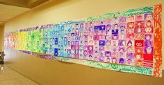 "Rainbow Mural Bulletin Board for St. Patrick's Day. Students' can draw a self portrait in their assigned color of the rainbow, or they could draw a picture of someone they're ""Lucky"" to have in their life."